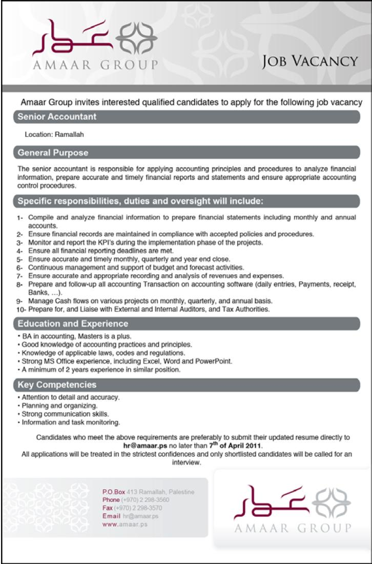 Palestine Ammar Group  Senior Accountant Vacancies