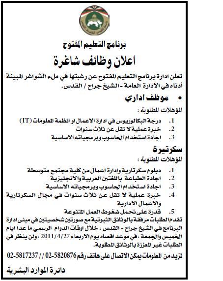 |برنامج القدس|وظائف الفلسطينية