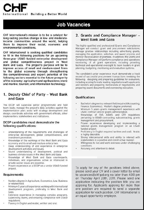 Palestine CHF| Vacancies