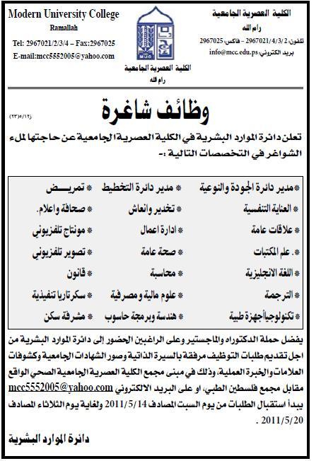 فلسطين وظائف  الكلية العصرية الجامعية  التخصصات وظائف