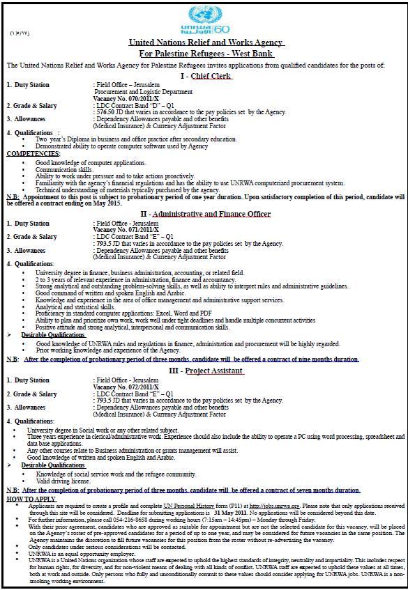 Palestine |UNRWA| Vacancies Palestine Vacancy