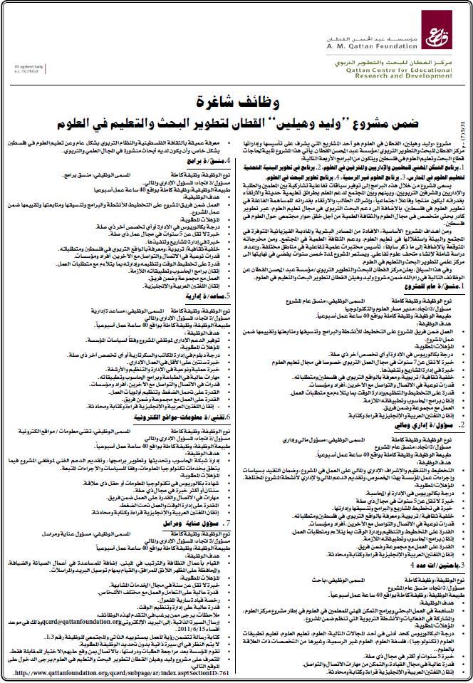 فلسطين,مركز التربوي| شاغرة,وظائف الفلسطينية,وظائف