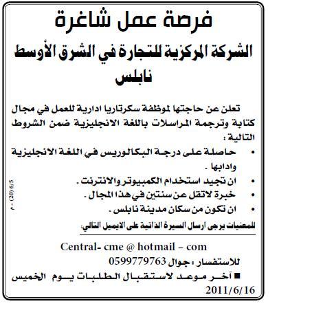 فلسطين,وظائف المركزية سكرتاريا,وظائف نابلس,وظائف الفسطينية