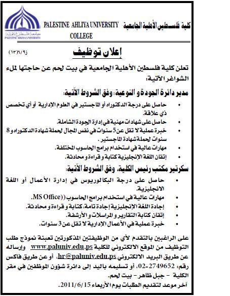 فلسطين,وظائف الجامعية,عدة الفلسطينية