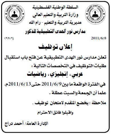 فلسطين,وظائف التطبيقية للذكور,مدرسين,معلمين الفلسطينية