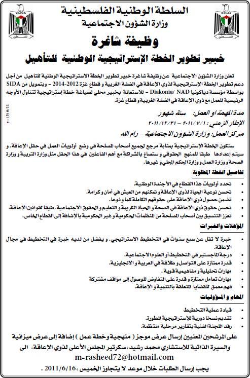 فلسطين,وظائف الاجتماعية, الاستراتيجية للتأهيل,وظائف الفلسطينية