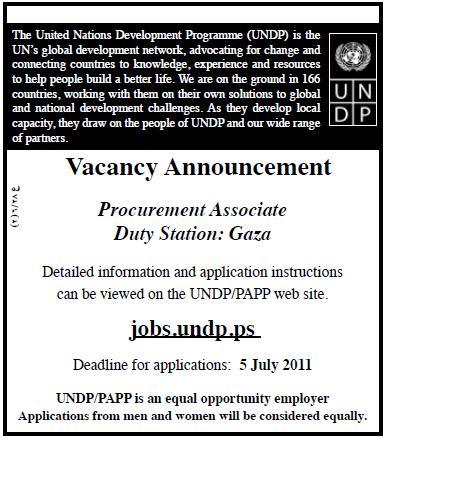 Palestine UNDP, Procurement Associate, Gaza,