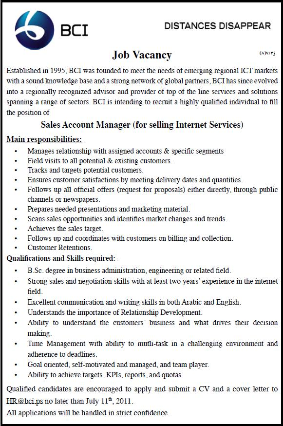 Palestine BCI, Sales Account Manager,
