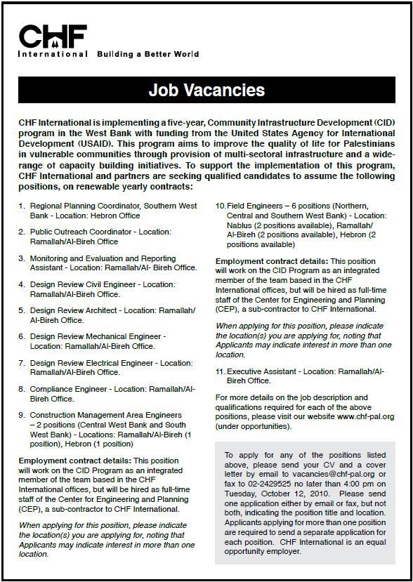  CHF Jobs  Vacancy