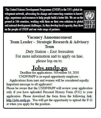 Vacancy Team Leader UNDP|strategic Research