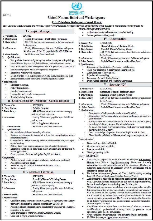 vacancy Palestine UNRWA  Vacancies  Project