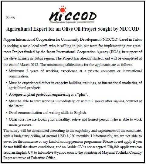 Vacancy Palestine NICCOD  Agricultural Expert