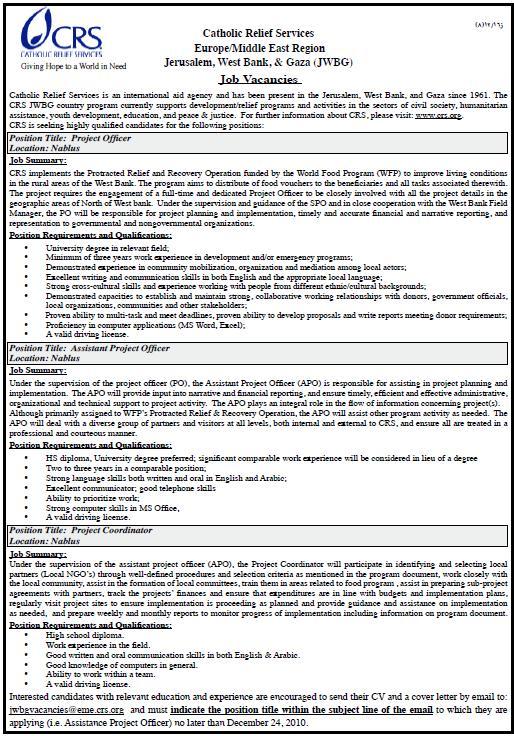 Vacancy Palestine |Catholic Relief Services|Vacancies