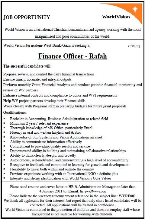 Vacancy Palestine|World Vision |Finance Officer
