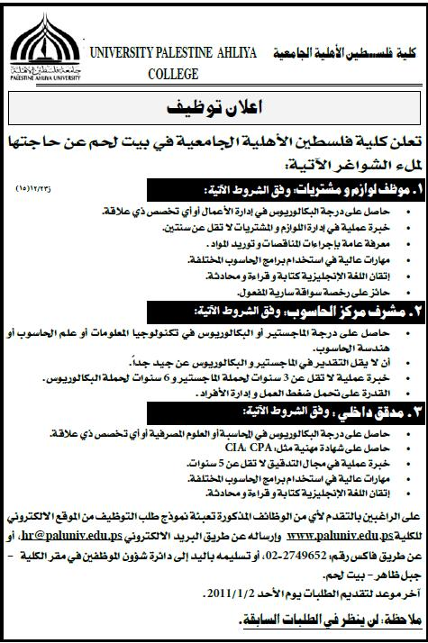 الجامعية|وظائف خالية|university palestine ahliya college