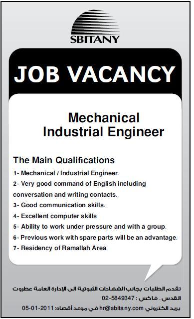 Vacanyc Palestine SBITANY Mechanical/ Industrial