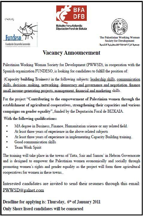 |Hebron Vacancy Capacity building Trainers