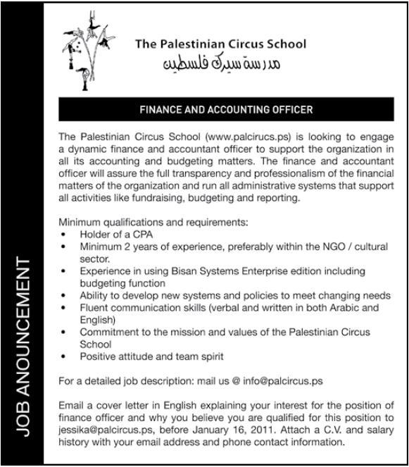 Vacancy Palestine Palestinian Circus School
