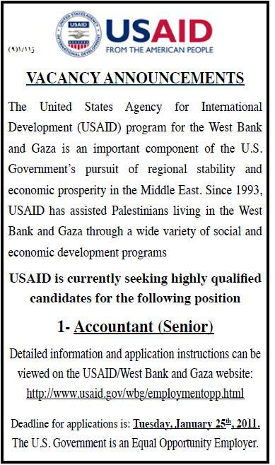 Vacancy Palestine  USAID  Accountant Palestine