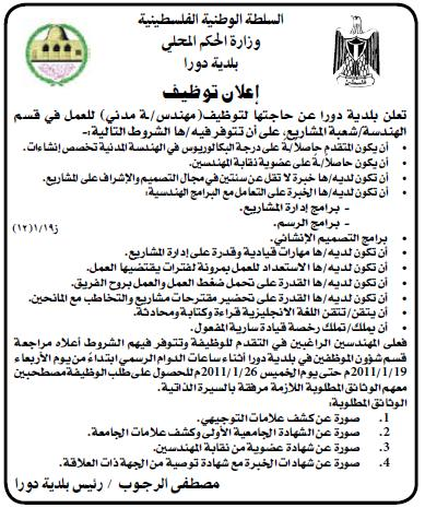 المحلي|بلدية دورا|وظائف الفلسطينية