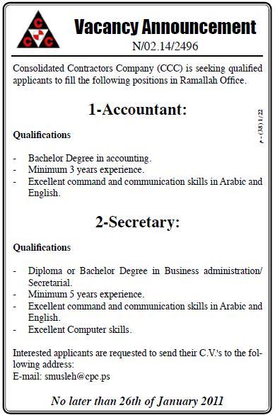Vacancy Palestine CCC| Company Vacancies
