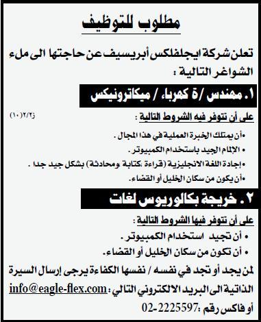 ايجلفكس ابريسيف|وظائف الفلسطينية|