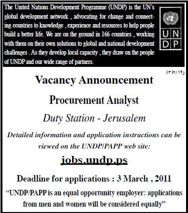 Palestine  UNDP  Procurement Analyst  Palestinian