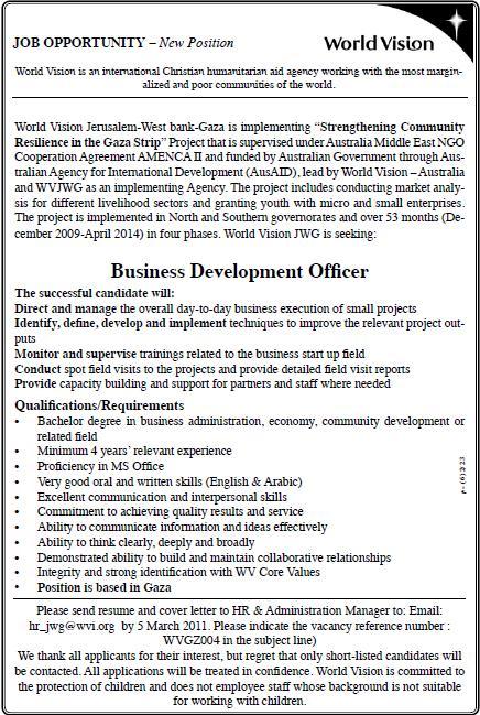 Palestine World Vision  Business Development