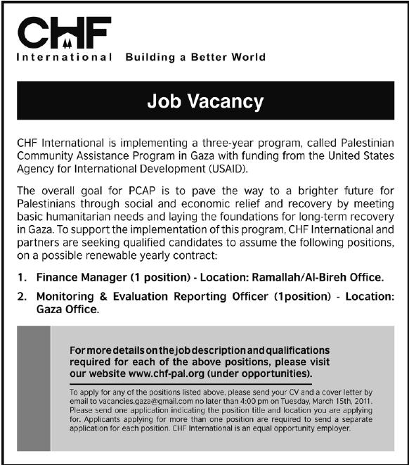 Palestine |CHF ||Vacancies| Gaza Job|Ramallah