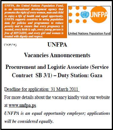 Palestine UNFPA Vacancies Palestine Vacancy